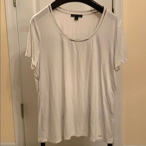 White Tommy Hilfiger top.